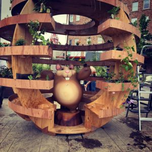 Makerspace Mascot Belvedere takes a break inside the completed garden sphere