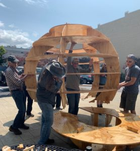 Placing the sphere onto the circular bench base